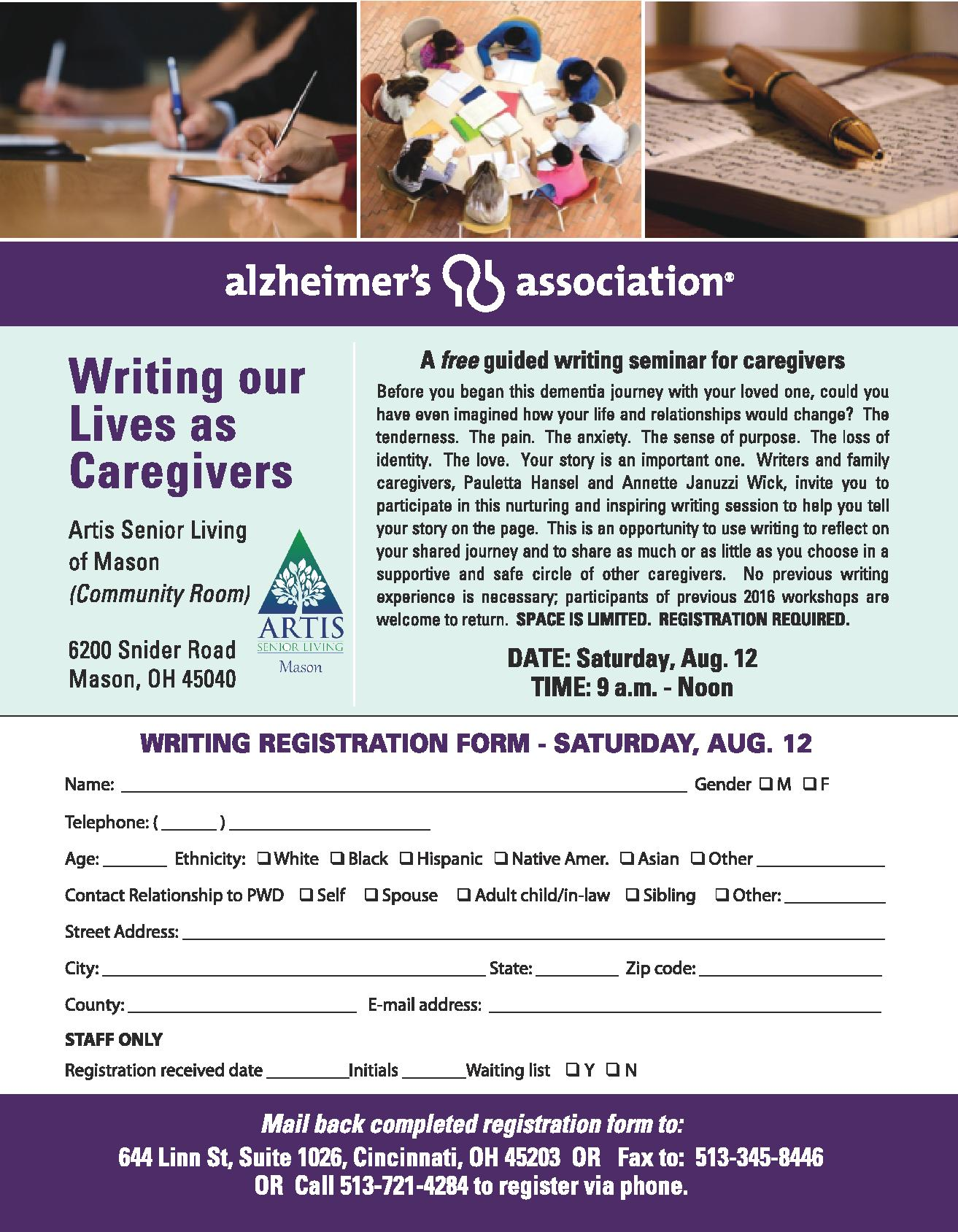 Organizing a Mind – Writing Our Lives as Caregivers Workshop