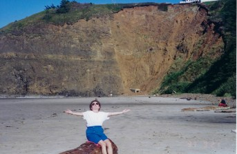 Mom on beach in Oside